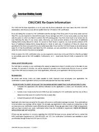 Cwi Re Exam Application For New Try Fee Test Assessment