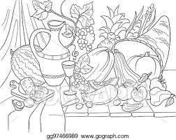 vegetables and fruits harvest style vector ilration thanksgiving day still life old engraving imitation
