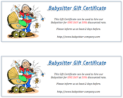 babysitting gift certificate template free babysitter gift certificate design designs and templates