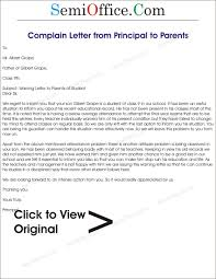 Letter To School Principal Plaint Letter To Parents From Principal