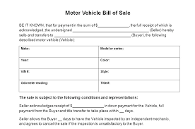 Bill Of Sale Receipt Template Motor Vehicle Bill Sale Form Free Bill
