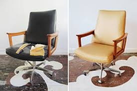 chairloom com reupholstered this danish modern office chair in maxwell fabrics metallic faux leather