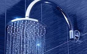 luxurious shower with rainfall style head