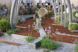 decorative bark in designed garden