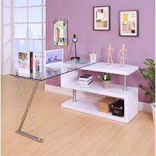 Clear office desk Gold Office Cymax Acme Buck Home Office Desk In Clear Glass And White 92368