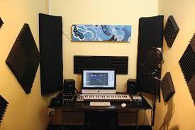home recording studio with soundproofing and acoustic treatment
