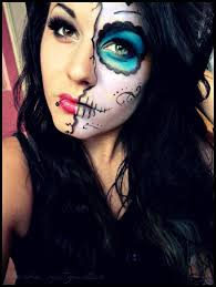 easy day of the dead makeup another half face