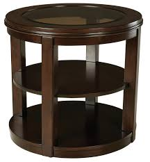 end tables round wood table glass top tables material small end dark brown finish construction middle shelf two shelves unique coffee design idea modern