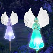 Solar Grave Decorations Solar Fairy Angel Lights Color Changing Garden Decor Outdoor Lawn
