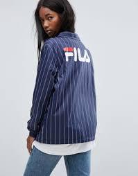 fila navy blue jacket. fila oversized coach jacket with back logo in pin stripe navy blue