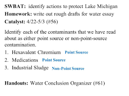 swbat identify actions to protect lake michigan homework write  swbat identify actions to protect lake michigan homework write out rough drafts for water