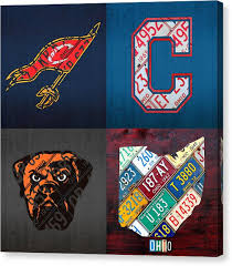 cleveland canvas print cleveland sports fan recycled vintage ohio license plate art cavaliers indians browns on cleveland sports teams wall art with cleveland canvas prints fine art america