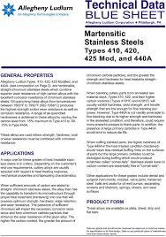 Technical Data Blue Sheet Martensitic Stainless Steels
