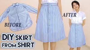 Upcycle Old Clothes Diy Turn Old Shirt Into Skirt Button Front A Line Midi Skirt