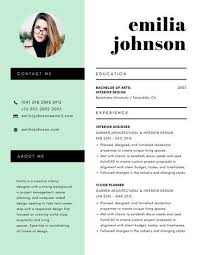 Modern Resume Templates Green Mint Green And White Minimalist Modern Resume Resume Modern