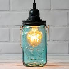 water blue glass mason jar pendant light kit wide mouth black cord 15ft