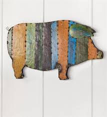 main image for recycled metal handmade pig wall art on metal pig wall art with recycled metal handmade pig wall art deck patio accents