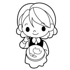 刺繍をする女の子のイラスト 無料イラスト素材素材ラボ
