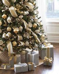 Silver Gold White Christmas Tree Gold White And Brown Ribbons Are