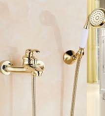 gold polished single handle wall installation bathtub faucet with handheld shower jpg