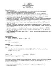 Sharepoint Developer Resume Gorgeous Nhi Doan SharePoint Resume