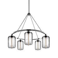 niche modern pod modern chandelier brushed aluminum with crystal pod glass