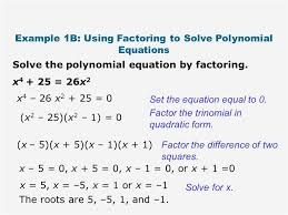 how to factor polynomials fresh 7 4 and 7 5 solving and zeros of polynomials ppt