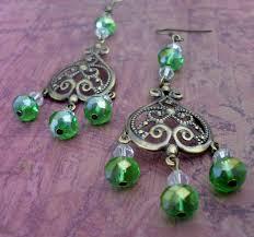 peridot green crystal chandelier earrings spring green antique brass filigree earrings pretty