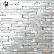 tst glass metal tiles silver strip stainless steel kitchen backsplash bar counter bathroom shower deco