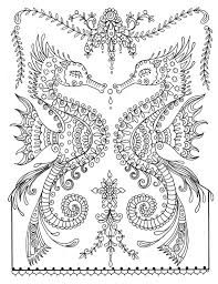 Small Picture Printable Sea Horse Coloring Page Instant Download Adult Coloring