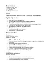 Catering Server Resume Free Catering Server Resume Template Sample MS Word 2