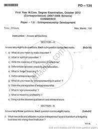 entrepreneurship development commerce mcom part  entrepreneurship development 2012 commerce mcom part 1 university exam bangalore university