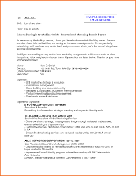 Sample Email To Recruiter Resume Format How A Template 8 Example