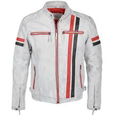 ashwood leather biker jacket white berlin