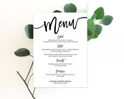 Menu Card Template Wedding Menu Template Menu Template Wedding Menu Cards