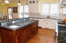 veneered beadboard kitchen island with soapstone countertop