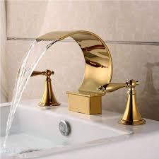 modern bathroom ideas with elegant and sleek gold sink faucet using beige wall color for comfy bathroom design