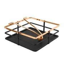 macbeth weighted arm matte black and rose gold napkin holder m 72006