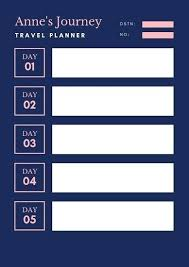 Pink Navy Fancy Chevron Itinerary Planner Holiday Travel
