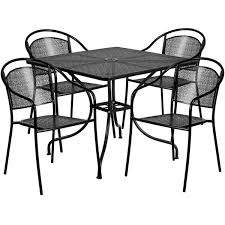 35 5 square black indoor outdoor steel patio table set with 4 round back