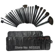 32pcs black makeup brushes black leather bag s black leather bags and s