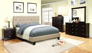 White Tufted Bed Frame Platform With Fabric Headboard King And ...