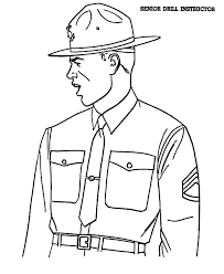 Senior Drill Intructor In Military Coloring Pages Color Luna