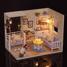 cuteroom 1 24 dollhouse miniature diy kit with led light cover wood toy doll house
