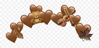 Brown Emoji Heart Hearts Leaf Leafes - Brown Heart Emoji Crown,Teddy Bear  Emojis - free transparent emoji - emojipng.com