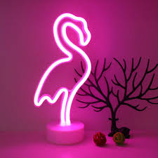 Pink Night Light Us 10 68 30 Off Creative Hot Pink Flamingos Neon Led Night Light For Kids Rooms Battery Power Night Lamp Table Lamp Party Decoration Lights In Led