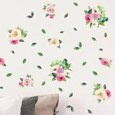 Soft Pink roses and peonies <b>wall sticker</b> flowers for <b>classic</b> interiors ...