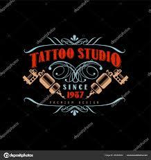 тату студия логотип дизайн премиум Estd 1987 ретро стиле эмблема