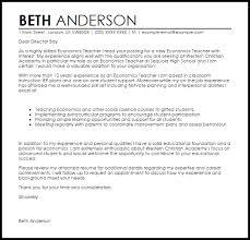 Economics Teacher Cover Letter Sample Cover Letter Templates