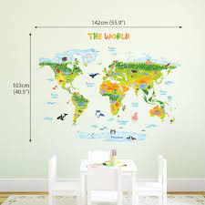 Make your kids' room really stand out! Amazon Com Decowall Dlt 1715 Geological World Map With Animals Kids Wall Stickers Wall Decals Peel And Stick Removable Wall Stickers For Kids Nursery Bedroom Living Room Xlarge Decor Kitchen Dining
